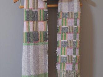 セール Doublelamb long scarf #1 - Green checkの画像