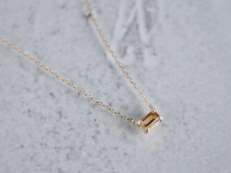 Citrine baguette necklace [P086K10YG(CT)]の画像