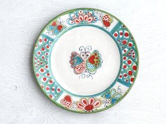 花と蝶絵のリム皿(ブルー/斜紋)の画像