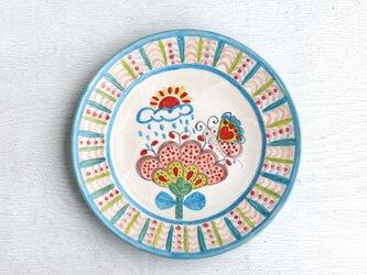 花と蝶絵のリム皿(ブルー)の画像