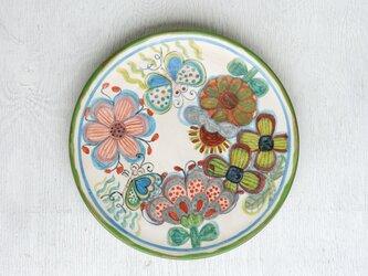 花と蝶絵の皿(深緑)の画像