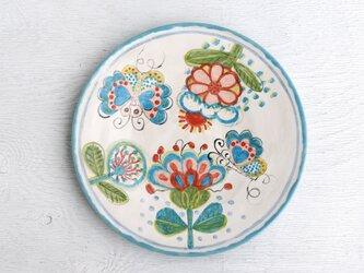 花と蝶絵の平皿(水色)の画像