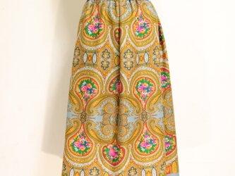 ウールのエスニックゴムスカート グレー 黄 Fサイズの画像