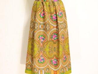 ウールのエスニックゴムスカート ウグイス 黄 Fサイズの画像