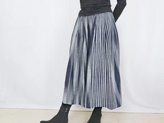 再3☆手織り綿絣ロングスカート、インディゴXグレー柄、オールシーズンの画像