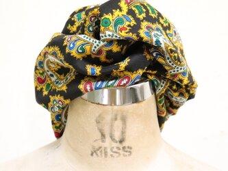 ウール黒と黄色のエスニック柄のヘアターバンの画像