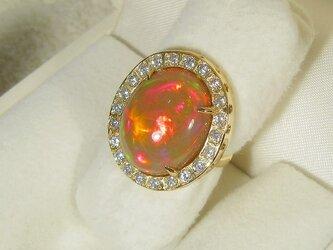 7.63ctオパールとK18イエローゴールド、再生ダイヤモンドの指輪(リングサイズ:10号、天然石、10月の誕生石)の画像