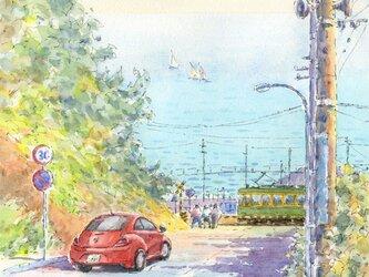 注文制作します 水彩画原画 湘南七里ヶ浜の海(#436)の画像