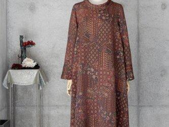 着物リメイク ロールカラーのワンピース/Aライン/L/更紗模様の画像