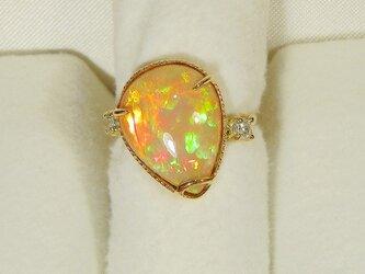 4.95ctオパールとダイヤモンド、K18イエローゴールドの指輪(リングサイズ:8号、天然石、10月の誕生石)の画像