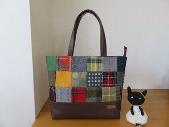 シゲミ様ご依頼品 ウールのファスナー付きパッチワークショルダーバッグの画像