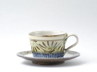 緑釉唐草文のカップ&ソーサーの画像