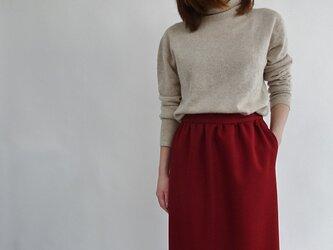 シワになりずらいウール見えロングゆるタイトスカート<レッド>の画像