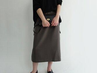 シワになりずらいウール見えロングゆるタイトスカート<カーキグレー>の画像