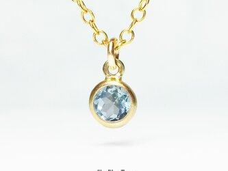 【11月誕生石】空色の1粒。スカイブルー・トパーズのネックレス [送料無料]の画像