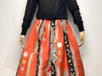 【着物リメイク】タック&ギャザースカート/オレンジにドット・チェック・抽象柄の画像