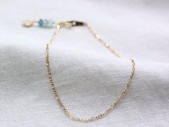 インディゴブルートルマリンのブレスレット Indigolite Beads Bracelet w/K10YGの画像