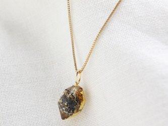 """""""漆塗り""""炭入り水晶の原石ネックレス Rough Rock Carbon Quartz Necklace Urushi K10の画像"""