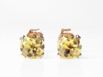 【11月誕生石】黄金の2粒。シトリンのピアス [送料無料]の画像