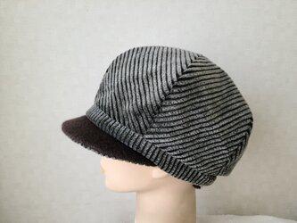 魅せる帽子☆【SALE!!】ふわもこコーデュロイのバイカラーキャスケット~モスグリーンの画像