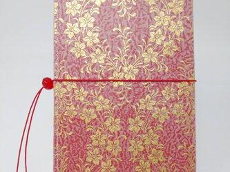 ギルディング和紙ケース(ストラップ付) 桔梗 赤地 金箔の画像
