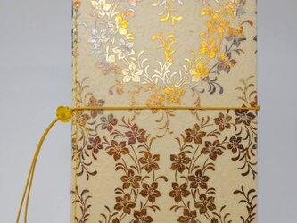 ギルディング和紙ケース(ストラップ付) 桔梗 クリームイエロー地 黄混合箔の画像