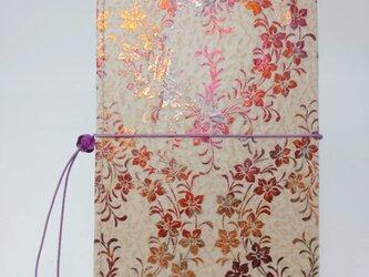 ギルディング和紙ケース(ストラップ付) 桔梗 ベージュ地 赤混合箔の画像