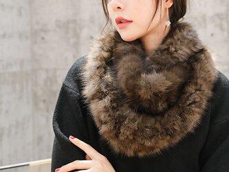 ¶ new antique fur ¶ ロシアンセーブルファー編み込みゆったりスヌード/ケープの画像