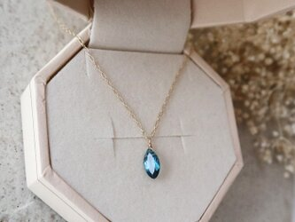 【K10】宝石質ロンドンブルートパーズの一粒ネックレス(マーキスファセットカット)*11月誕生石の画像