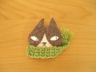6 ハチワレ猫ブローチ(チャコール)グリーンマフラーの画像