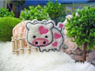 ピンクのハート模様の牛さん★あいろんワッペン★白桃6-1枚の画像