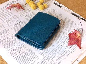 イタリア革の二つ折り財布/青の画像