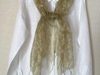草木染め シルクストール 花柄(小) シオジの画像