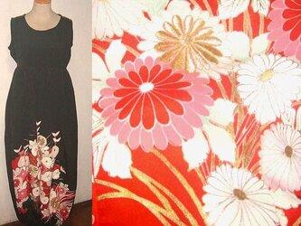留袖リメイク♪菊が素敵な留袖バルーンワンピース♪ハンドメイド・シルク・刺繍・着物リメイクの画像