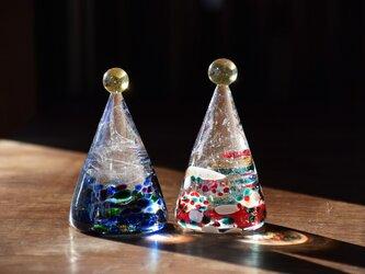 ガラスのクリスマスツリーペアの画像