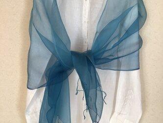 草木染め シルクオーガンジーストール 藍の画像