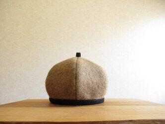 シャギーニットのベレー帽 ベージュの画像
