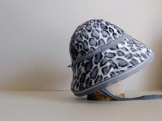 帽子 / ベル型ジップハット / レーヨンファー / アニマル柄 【レオパード・グレー】Animal 受注制作の画像