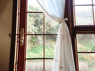 ホワイトコットン♪片開きラッフルカーテン 横114cm×縦200cm リボンクリップ付きの画像