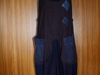 縞と藍の古布ジャンパースカート_200924の画像