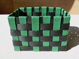 クラフトカゴ 人気の和柄模様 黒色×緑色 小物収納の画像