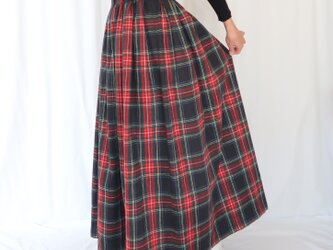 タータンチェック・イレギュラータックギャザースカート♡C&S起毛コットン♪ブラックスチュアートの画像