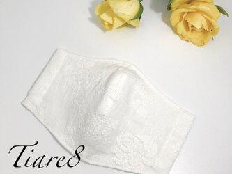 【普通サイズ】清潔感たっぷり◎白のふっくら優しい上質ダブルガーゼ素材☆エレガントなバラ刺繍のシンプル立体マスクの画像