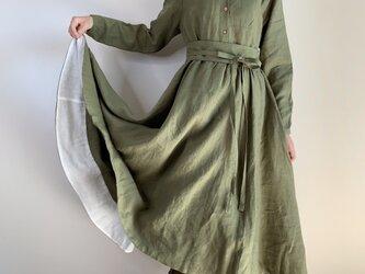 (値下げ)裾裏配色ポイント丸襟ワンピース(カーキ色)の画像