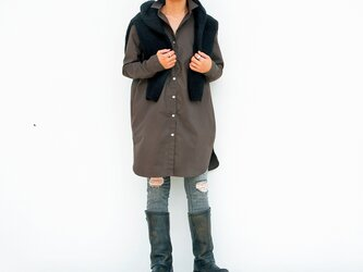 ロングシャツ(ブラウン)ー高密度cottonーの画像