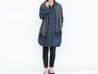 ロングシャツ(ネイヴィー)ー高密度cottonーの画像