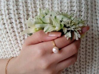 mili K18YG 宇和島アコヤパール Lotus Ringの画像