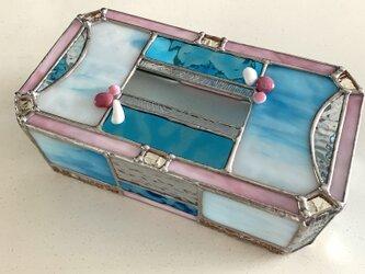 ティッシュカバー『ミラー&アクアブルー』 ガラス  BayViewの画像