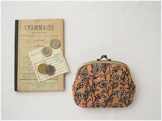 ■ヴィンテージファブリックの仕切りがま口財布 / 茶色の花柄 ■ amande(vf-br)の画像