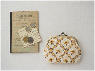 ■ヴィンテージファブリックの仕切りがま口財布 / マスタードイエローの花柄 ■ amande(vf-yfd)の画像